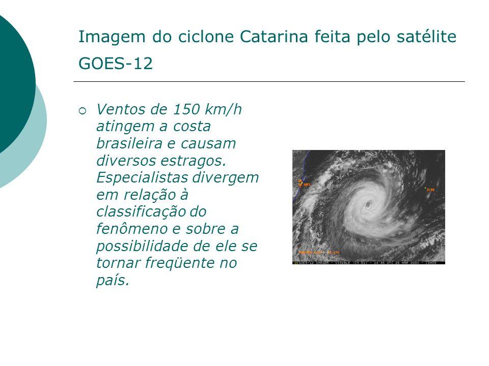 Imagem do ciclone Catarina feita pelo satélite GOES-12 Ventos de 150 km/h atingem a costa brasileira e causam diversos estragos. Especialistas diverge