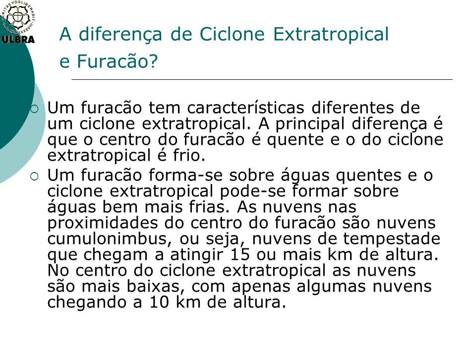 A diferença de Ciclone Extratropical e Furacão? Um furacão tem características diferentes de um ciclone extratropical. A principal diferença é que o c