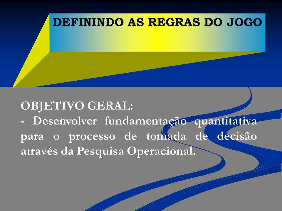 DEFININDO AS REGRAS DO JOGO OBJETIVO GERAL: - Desenvolver fundamentação quantitativa para o processo de tomada de decisão através da Pesquisa Operacio