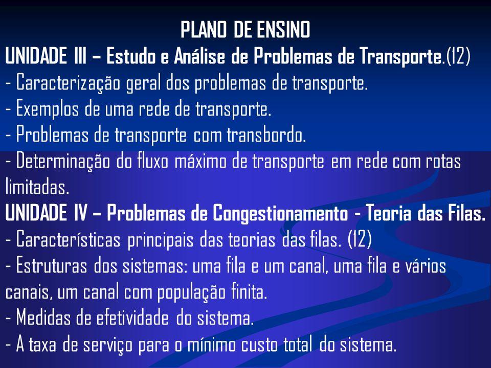 PLANO DE ENSINO UNIDADE III – Estudo e Análise de Problemas de Transporte.(12) - Caracterização geral dos problemas de transporte. - Exemplos de uma r