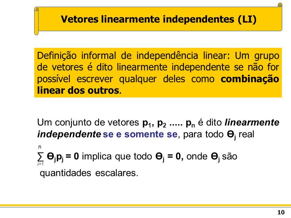 Um conjunto de vetores p 1, p 2..... p n é dito linearmente independente se e somente se, para todo Ө j real n Ө j p j = 0 implica que todo Ө j = 0, o