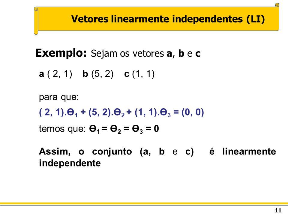 11 Vetores linearmente independentes (LI) Exemplo: Sejam os vetores a, b e c a ( 2, 1) b (5, 2) c (1, 1) para que: ( 2, 1).Ө 1 + (5, 2).Ө 2 + (1, 1).Ө