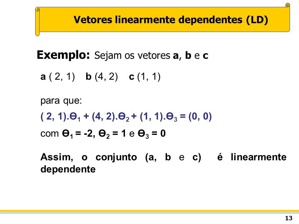 13 Vetores linearmente dependentes (LD) Exemplo: Sejam os vetores a, b e c a ( 2, 1) b (4, 2) c (1, 1) para que: ( 2, 1).Ө 1 + (4, 2).Ө 2 + (1, 1).Ө 3