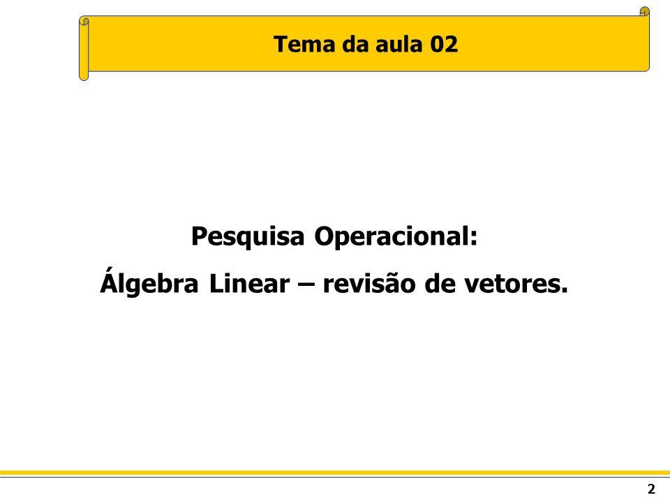 2 Tema da aula 02 Pesquisa Operacional: Álgebra Linear – revisão de vetores.