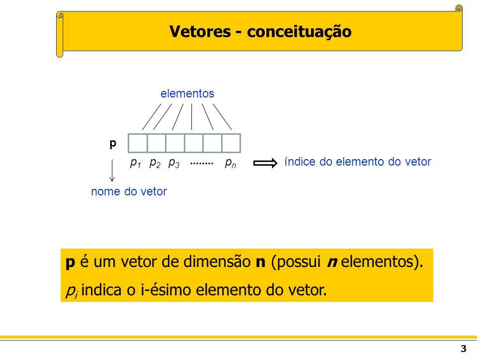 3 Vetores - conceituação p é um vetor de dimensão n (possui n elementos). p i indica o i-ésimo elemento do vetor. elementos p1p1 p2p2 p3p3 pnpn p índi