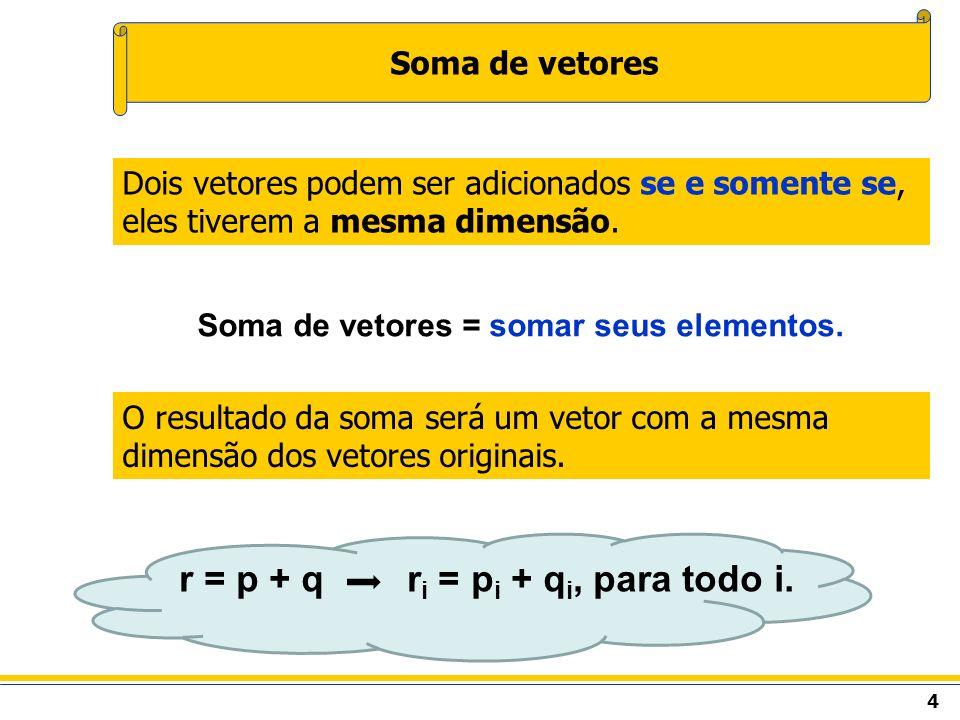 4 Soma de vetores O resultado da soma será um vetor com a mesma dimensão dos vetores originais. Dois vetores podem ser adicionados se e somente se, el