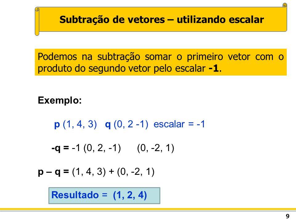 Exemplo: p (1, 4, 3) q (0, 2 -1) escalar = -1 -q = -1 (0, 2, -1) (0, -2, 1) p – q = (1, 4, 3) + (0, -2, 1) Resultado = (1, 2, 4) 9 Subtração de vetore