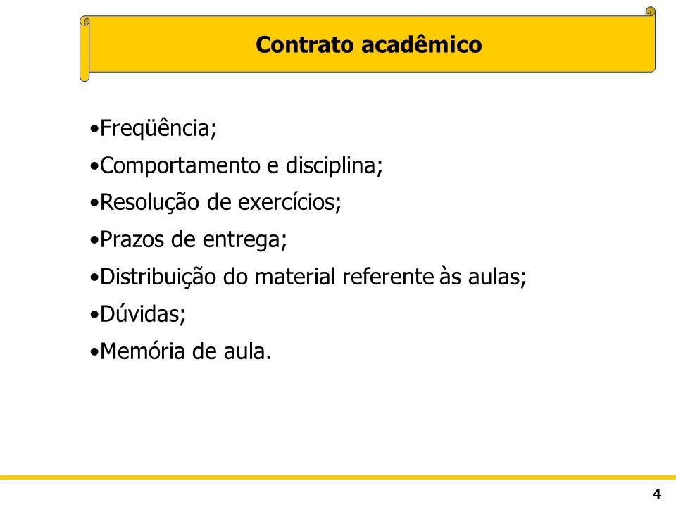 4 Contrato acadêmico Freqüência; Comportamento e disciplina; Resolução de exercícios; Prazos de entrega; Distribuição do material referente às aulas;