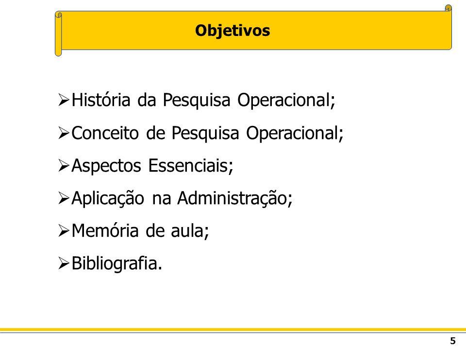 5 Objetivos História da Pesquisa Operacional; Conceito de Pesquisa Operacional; Aspectos Essenciais; Aplicação na Administração; Memória de aula; Bibl