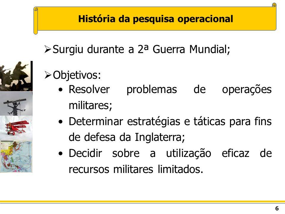 6 História da pesquisa operacional Objetivos: Resolver problemas de operações militares; Determinar estratégias e táticas para fins de defesa da Ingla