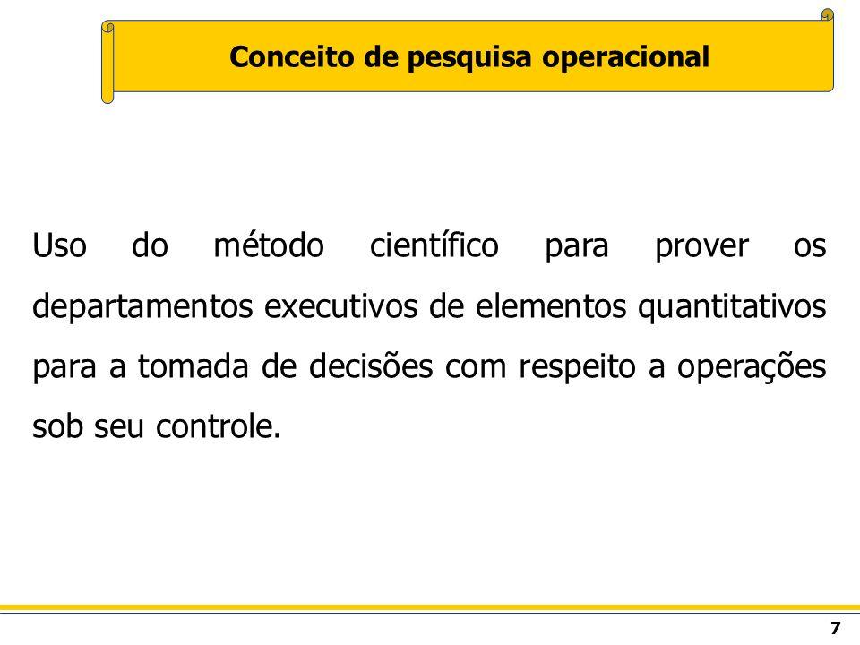 7 Conceito de pesquisa operacional Uso do método científico para prover os departamentos executivos de elementos quantitativos para a tomada de decisõ