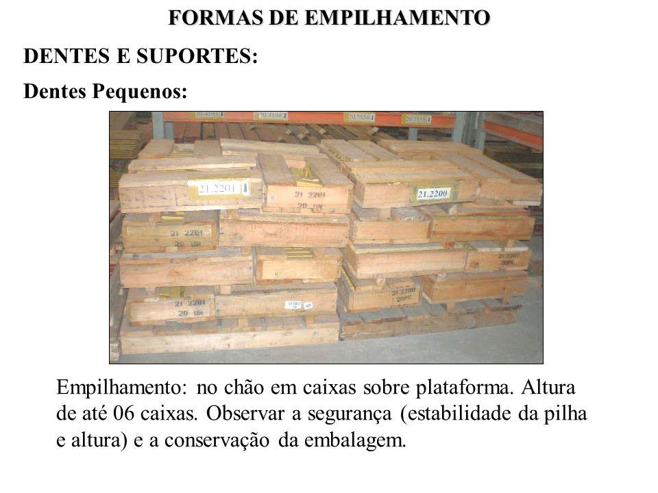 FORMAS DE EMPILHAMENTO Dentes Pequenos: Empilhamento: no chão em caixas sobre plataforma. Altura de até 06 caixas. Observar a segurança (estabilidade