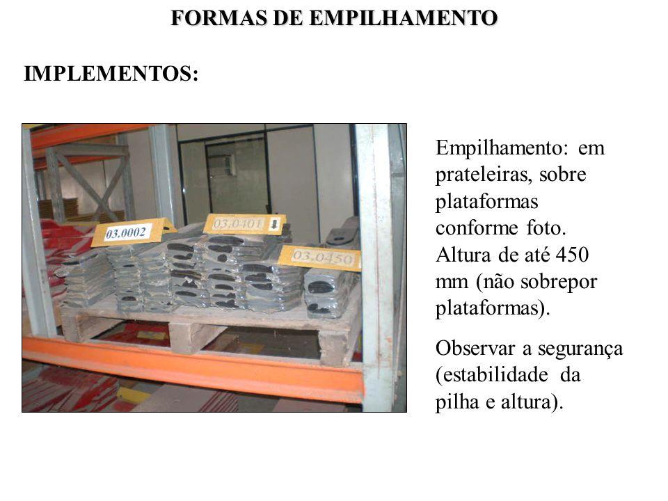 FORMAS DE EMPILHAMENTO Empilhamento: em prateleiras, sobre plataformas conforme foto. Altura de até 450 mm (não sobrepor plataformas). Observar a segu