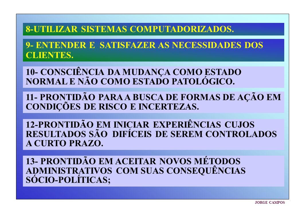 JORGE CAMPOS 8-UTILIZAR SISTEMAS COMPUTADORIZADOS. 9- ENTENDER E SATISFAZER AS NECESSIDADES DOS CLIENTES. 10- CONSCIÊNCIA DA MUDANÇA COMO ESTADO NORMA