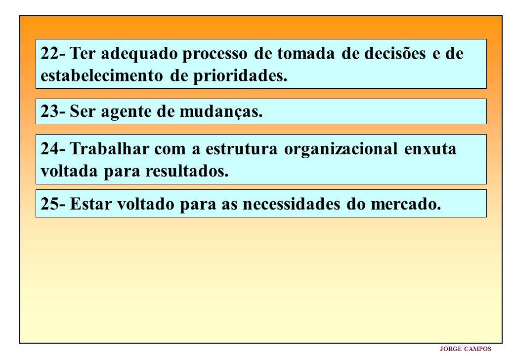 JORGE CAMPOS 23- Ser agente de mudanças. 24- Trabalhar com a estrutura organizacional enxuta voltada para resultados. 25- Estar voltado para as necess