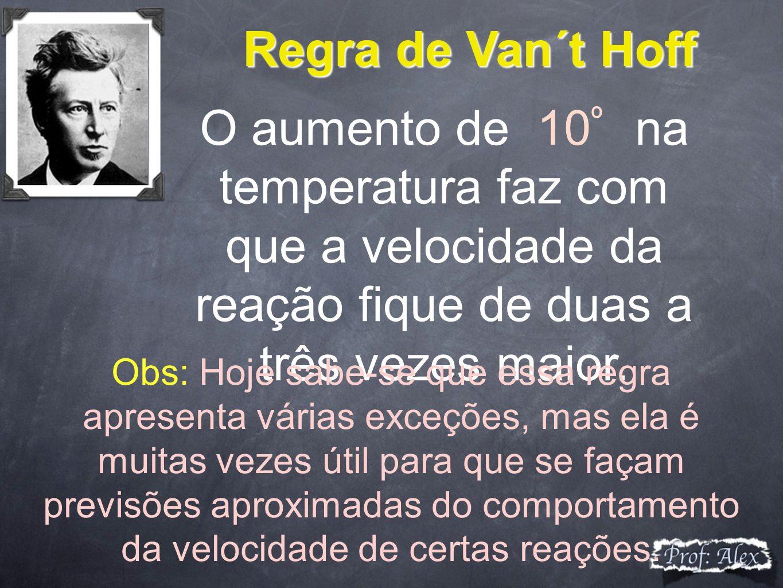 Regra de Van´t Hoff O aumento de 10 º na temperatura faz com que a velocidade da reação fique de duas a três vezes maior. Obs: Hoje sabe-se que essa r