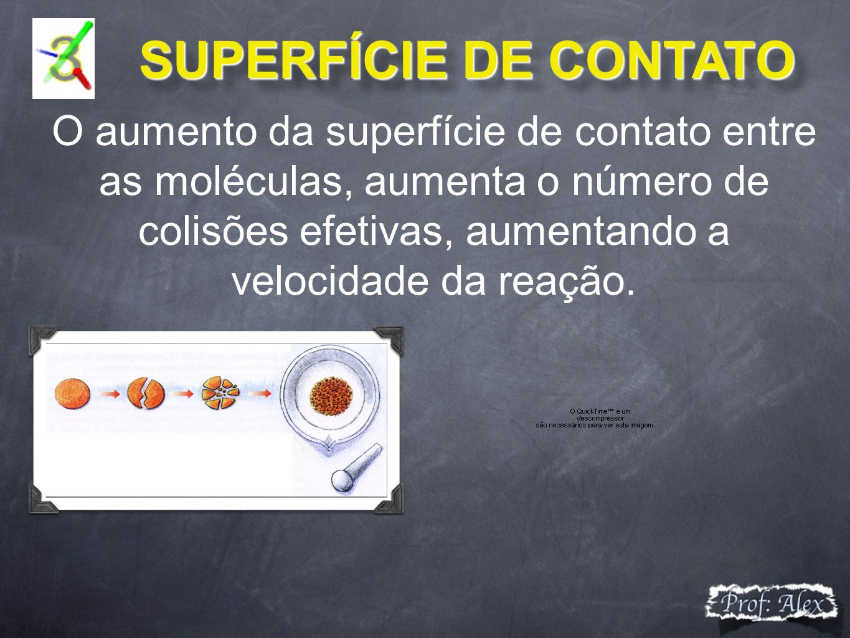 SUPERFÍCIE DE CONTATO SUPERFÍCIE DE CONTATO O aumento da superfície de contato entre as moléculas, aumenta o número de colisões efetivas, aumentando a velocidade da reação.