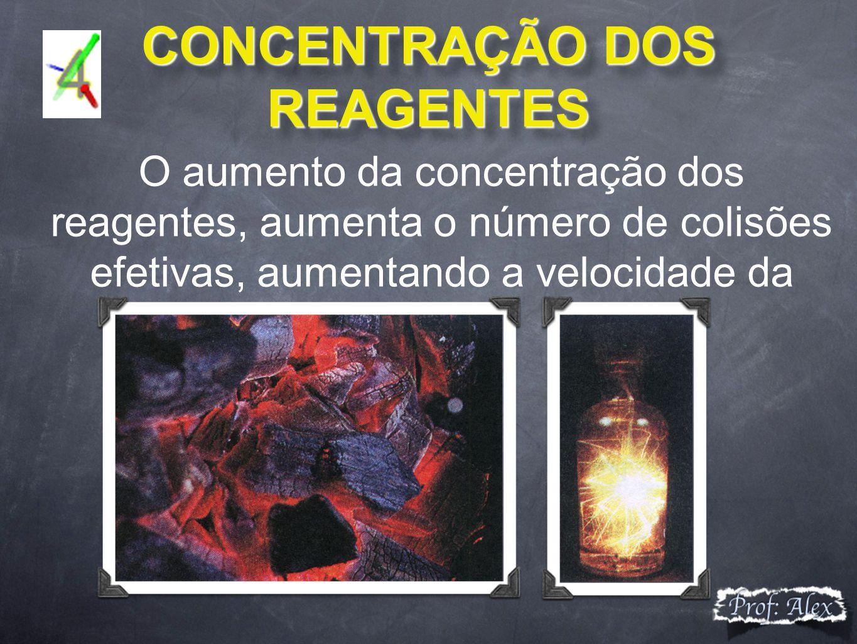CONCENTRAÇÃO DOS REAGENTES CONCENTRAÇÃO DOS REAGENTES O aumento da concentração dos reagentes, aumenta o número de colisões efetivas, aumentando a velocidade da reação.