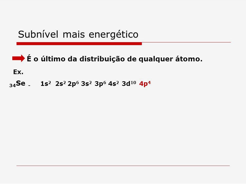 Distribuição eletrônica em subníveis Segue a ordem crescente de energia dos subníveis determinada por Pauling. Para colocar elétrons em um determinado