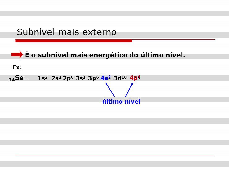 Subnível mais energético É o último da distribuição de qualquer átomo. Ex. 34 Se - 1s 2 2s 2 2p 6 3s 2 3p 6 3d 10 4s 2 4p 4