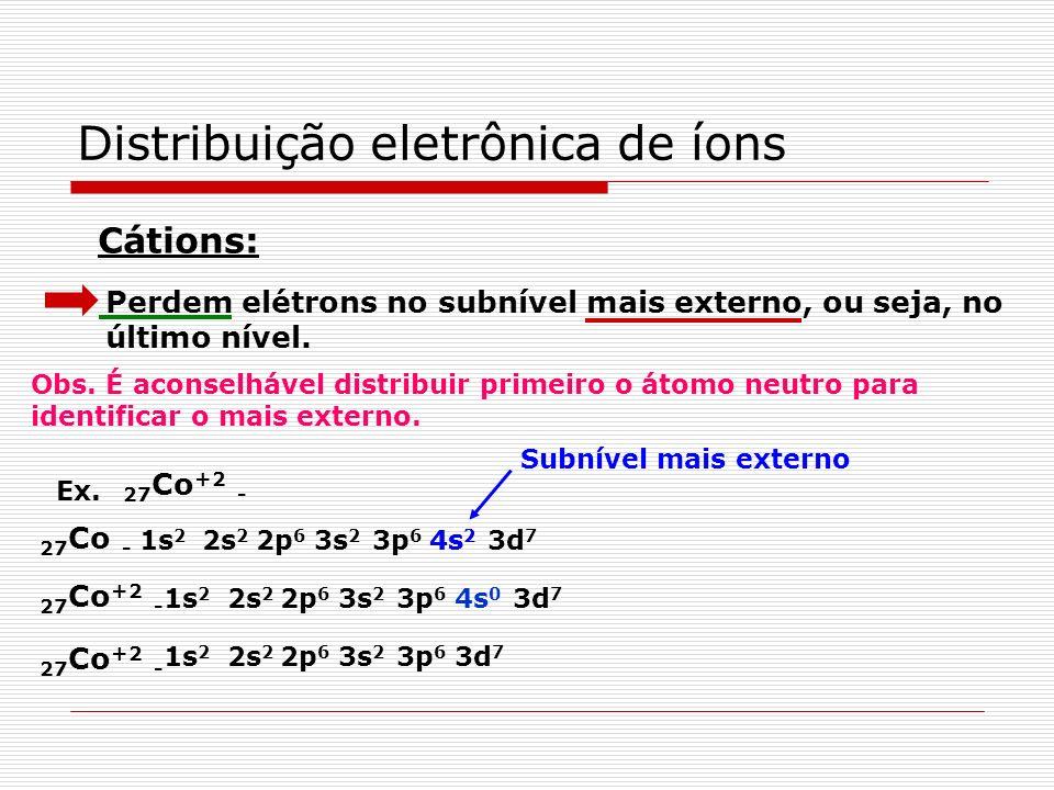 Casos especiais Fenômeno ocorrido apenas no subnível d com 4 e 9 elétrons (d 4 ou d 9 ). Transferir o elétron do subnível s anterior, transformando a