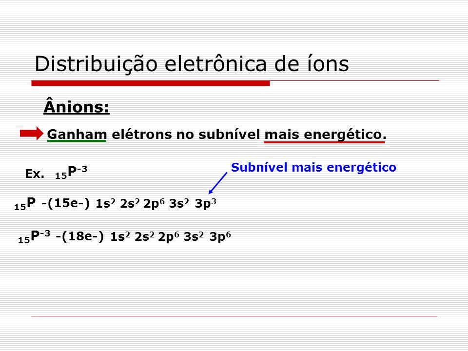 Distribuição eletrônica de íons Perdem elétrons no subnível mais externo, ou seja, no último nível. Cátions: Ex. 27 Co - 1s 2 2s 2 2p 6 3s 2 3p 6 3d 7