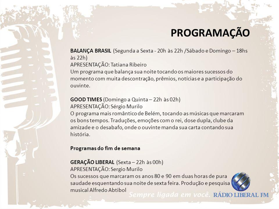PROGRAMAÇÃO BALANÇA BRASIL (Segunda a Sexta - 20h às 22h /Sábado e Domingo – 18hs às 22h) APRESENTAÇÃO: Tatiana Ribeiro Um programa que balança sua no