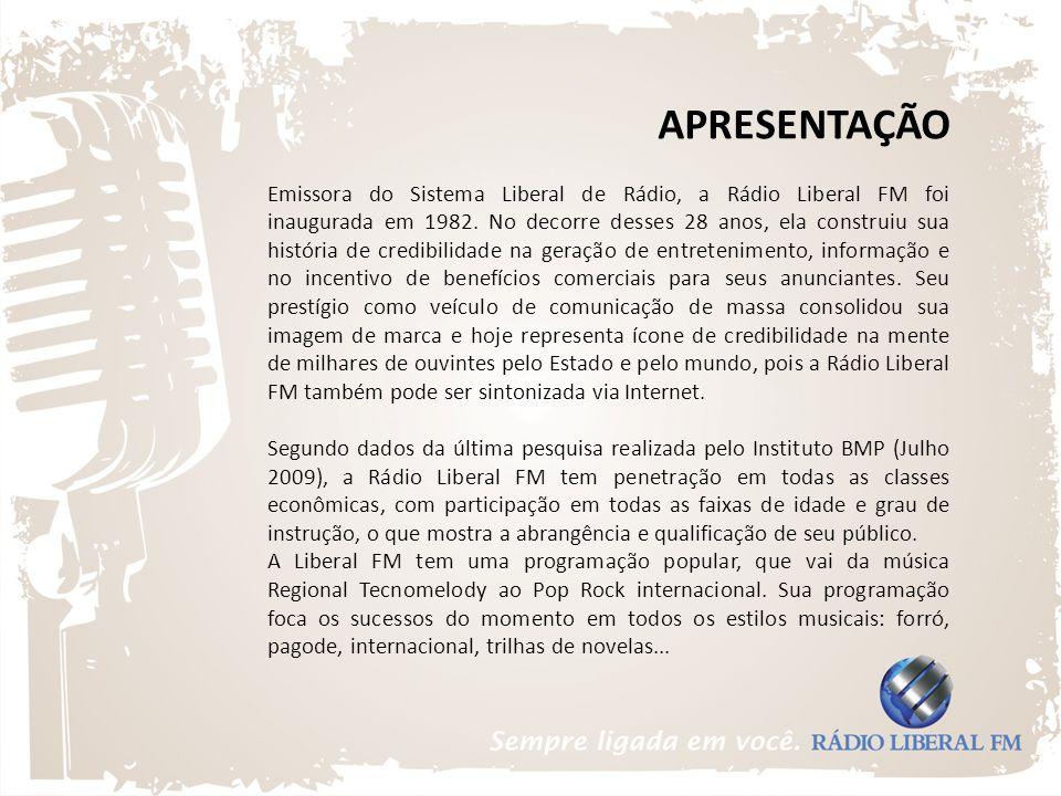 APRESENTAÇÃO Emissora do Sistema Liberal de Rádio, a Rádio Liberal FM foi inaugurada em 1982. No decorre desses 28 anos, ela construiu sua história de