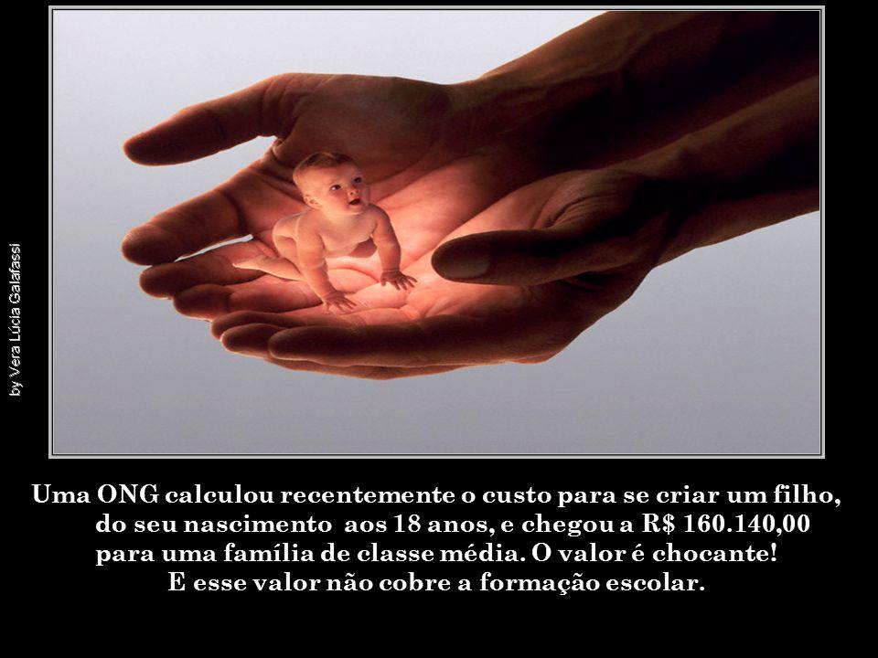 Uma ONG calculou recentemente o custo para se criar um filho, do seu nascimento aos 18 anos, e chegou a R$ 160.140,00 para uma família de classe média.