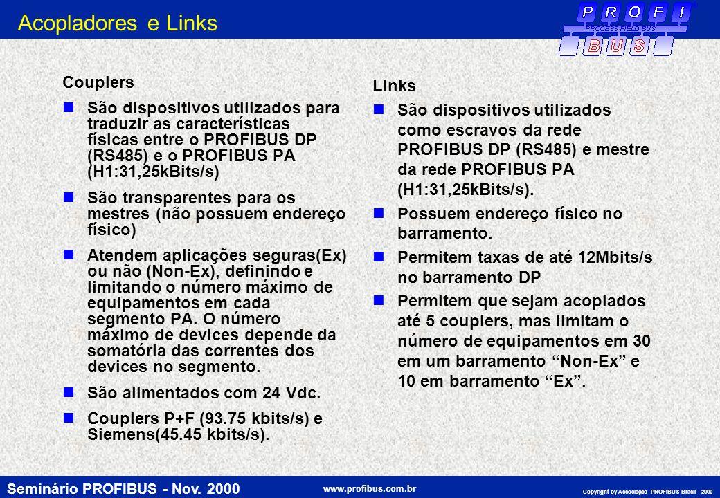 Seminário PROFIBUS - Nov. 2000 www.profibus.com.br Copyright by Associação PROFIBUS Brasil - 2000 Acopladores e Links Couplers São dispositivos utiliz