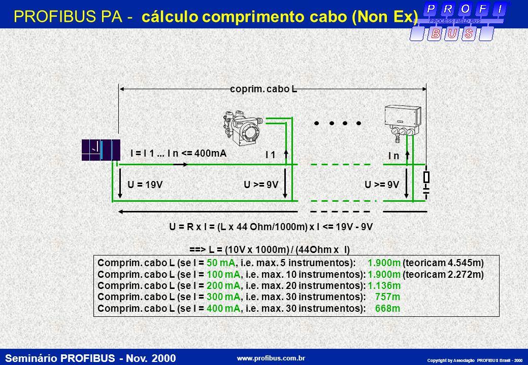 Seminário PROFIBUS - Nov. 2000 www.profibus.com.br Copyright by Associação PROFIBUS Brasil - 2000 U = 19V I = I 1... I n <= 400mA U >= 9V U = R x I =