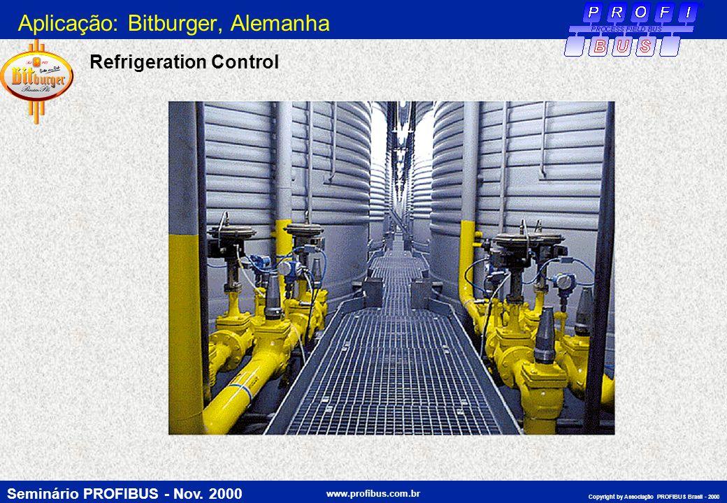 Seminário PROFIBUS - Nov. 2000 www.profibus.com.br Copyright by Associação PROFIBUS Brasil - 2000 Refrigeration Control Aplicação: Bitburger, Alemanha