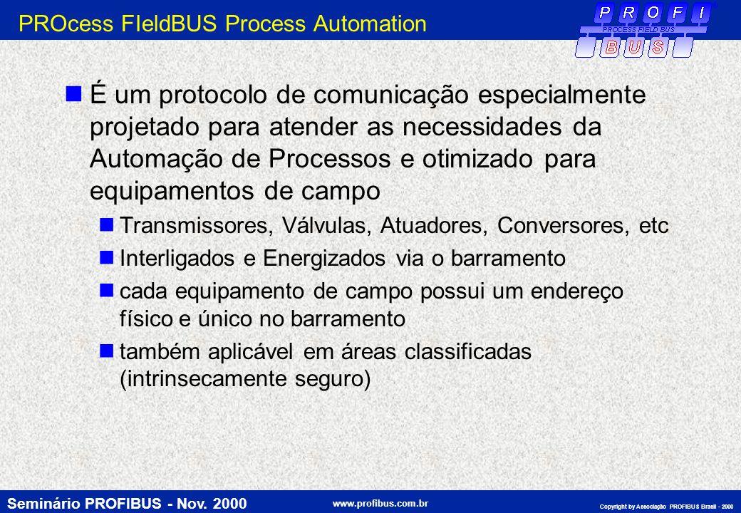 Seminário PROFIBUS - Nov. 2000 www.profibus.com.br Copyright by Associação PROFIBUS Brasil - 2000 PROcess FIeldBUS Process Automation É um protocolo d
