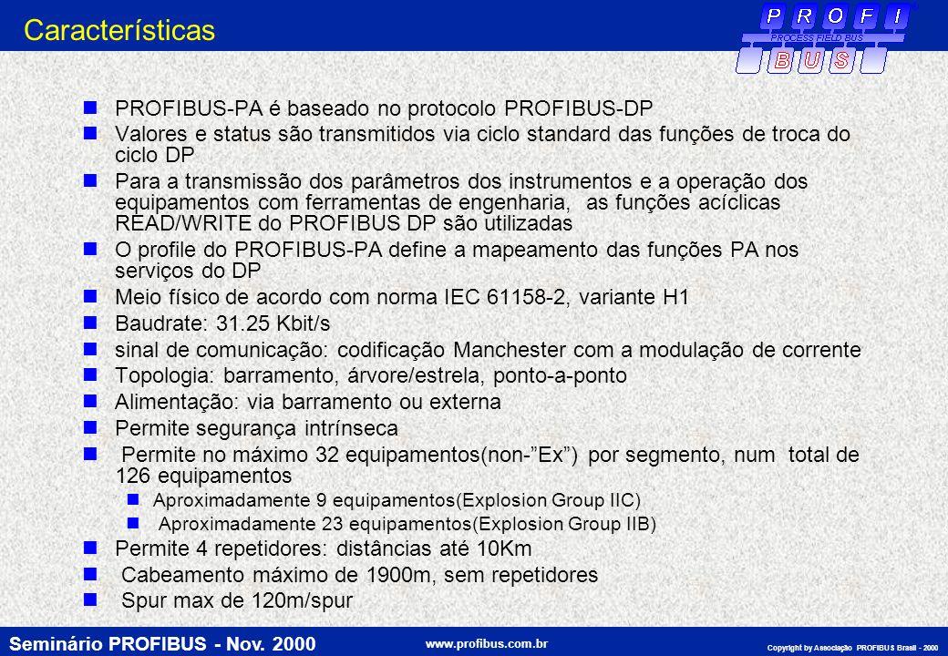 Seminário PROFIBUS - Nov. 2000 www.profibus.com.br Copyright by Associação PROFIBUS Brasil - 2000 Características PROFIBUS-PA é baseado no protocolo P