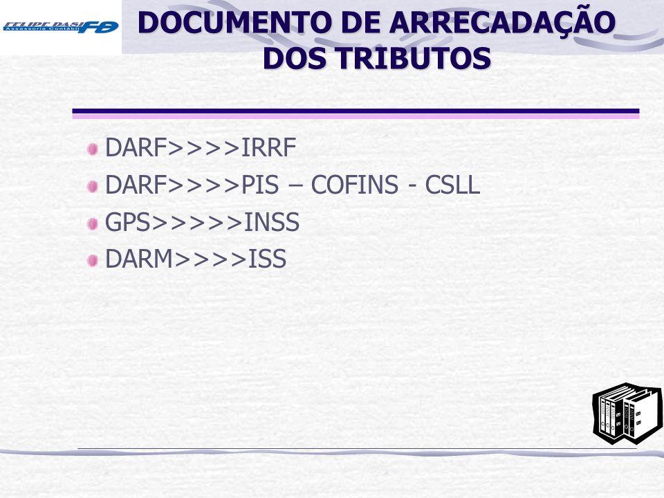 DOCUMENTO DE ARRECADAÇÃO DOS TRIBUTOS DARF>>>>IRRF DARF>>>>PIS – COFINS - CSLL GPS>>>>>INSS DARM>>>>ISS