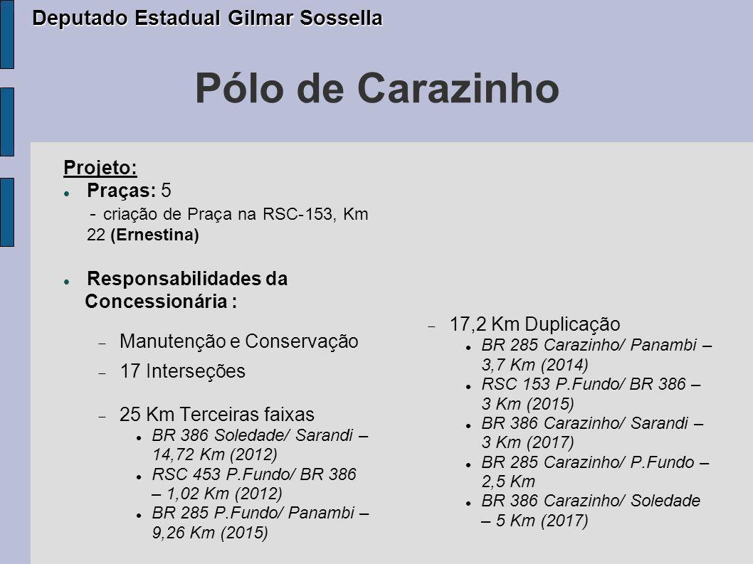 Pólo Santa Cruz do Sul Projeto: Praças: 4 Autoriza o imediato início da operação da Praça de Pedágio a ser construída na RSC 287, no Km 224.