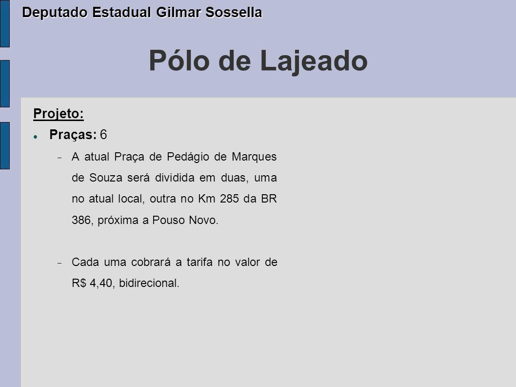 Pedágios Comunitários COXILHA PERÍODO 1999 À 2007 Arrecadação: R$ 30.530.249,00 (100,0%) Investimentos: R$ 11.773.775,00 (38,56%) Despesas operacionais: R$ 8.320.976,00 (27,25%) Caixa único: R$ 10.435.498,00 (34,19%) Deputado Estadual Gilmar Sossella Deputado Estadual Gilmar Sossella