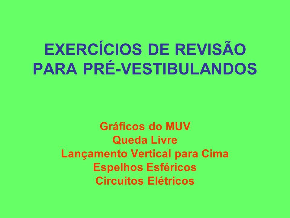 EXERCÍCIOS DE REVISÃO PARA PRÉ-VESTIBULANDOS Gráficos do MUV Queda Livre Lançamento Vertical para Cima Espelhos Esféricos Circuitos Elétricos