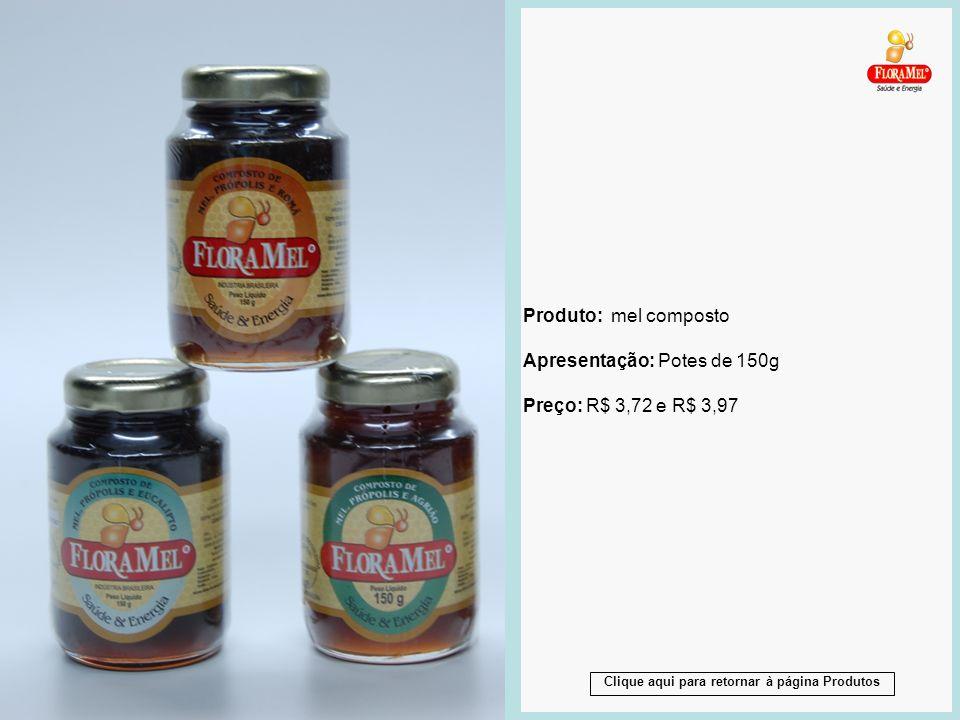 Produto: mel composto Apresentação: Potes de 150g Preço: R$ 3,72 e R$ 3,97 Produto: mel composto Apresentação: Potes de 150g Preço: R$ 3,72 e R$ 3,97