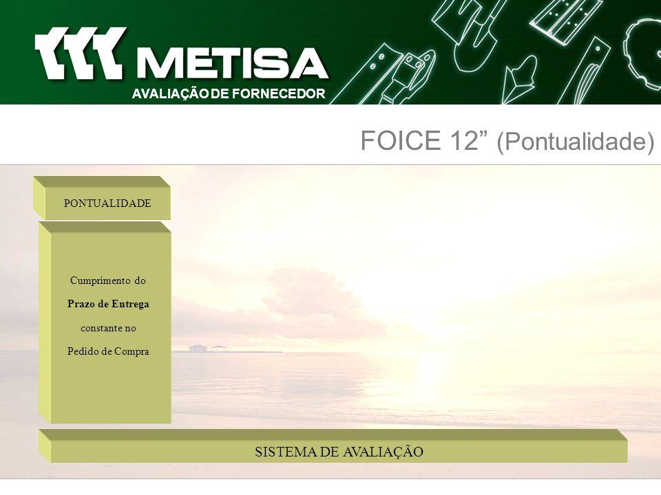 SISTEMA DE AVALIAÇÃO AVALIAÇÃO DE FORNECEDOR FOICE 12 (Pontualidade) Cumprimento do Prazo de Entrega constante no Pedido de Compra PONTUALIDADE