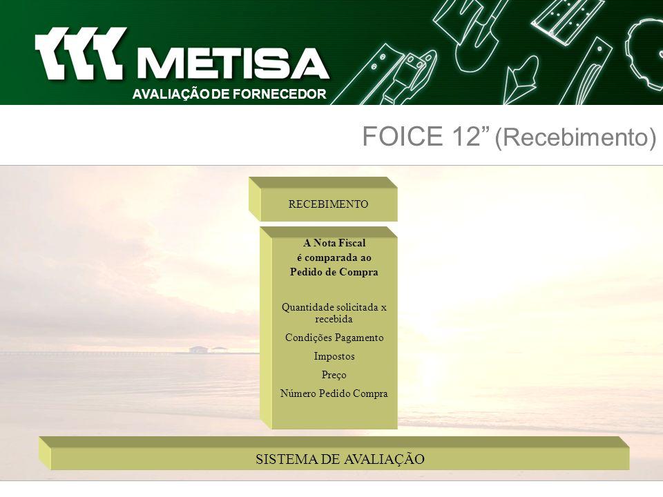 FOICE 12 (Recebimento) AVALIAÇÃO DE FORNECEDOR