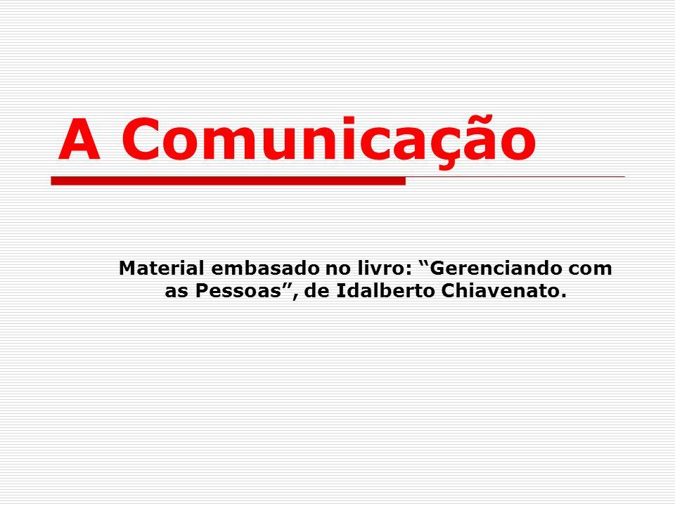 A Comunicação Material embasado no livro: Gerenciando com as Pessoas, de Idalberto Chiavenato.