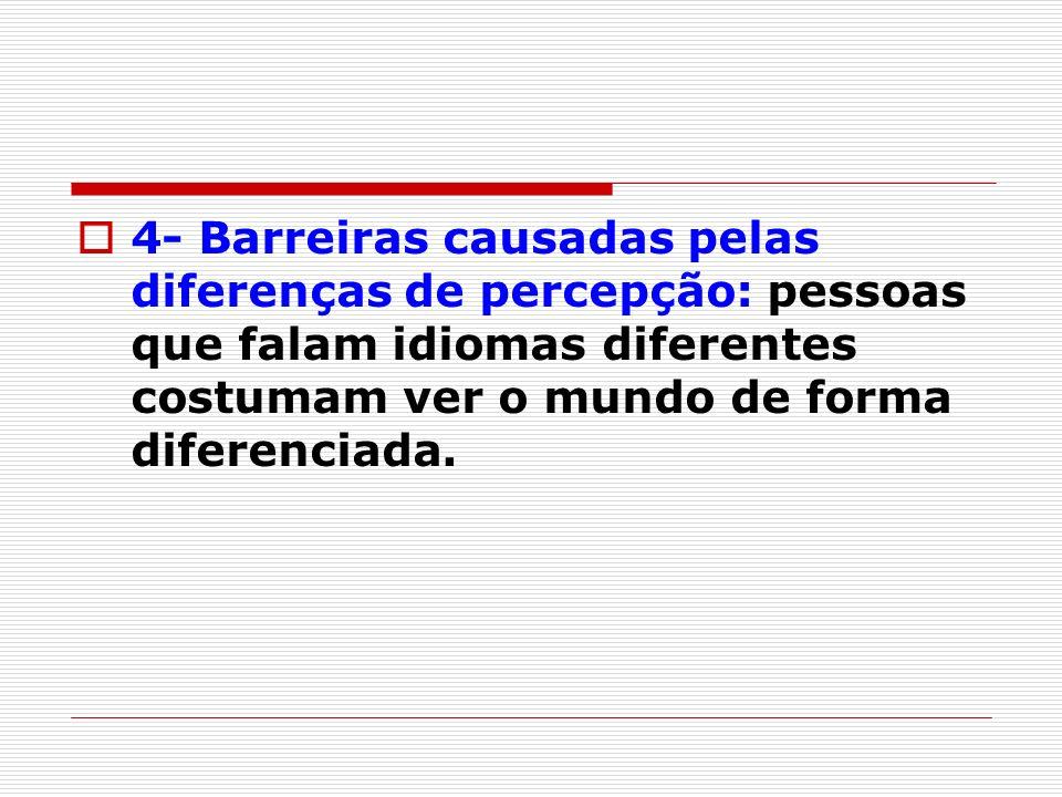 4- Barreiras causadas pelas diferenças de percepção: pessoas que falam idiomas diferentes costumam ver o mundo de forma diferenciada.