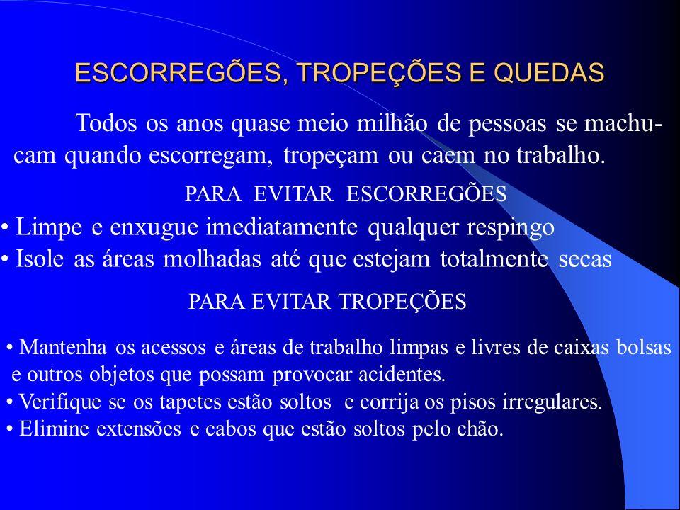 A ADOÇÃO DESSES PROCEDIMENTOS IRÁ CONTRIBUIR PARA UM TRABALHO MAIS SEGURO