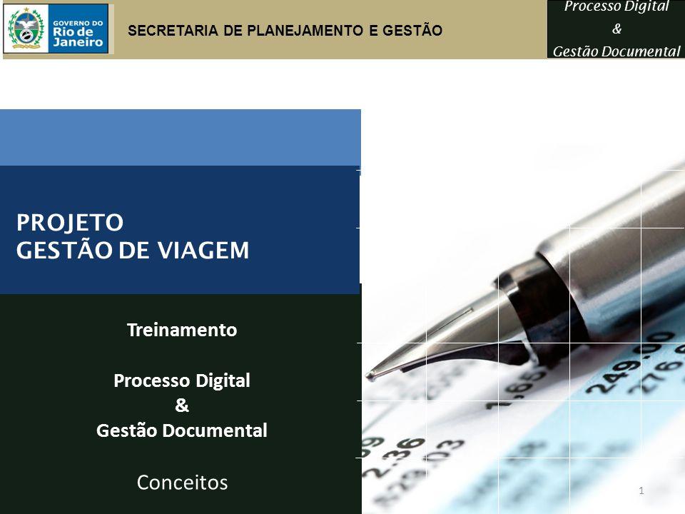 Processo Digital & Gestão Documental Treinamento Processo Digital & Gestão Documental Conceitos PROJETO GESTÃO DE VIAGEM SECRETARIA DE PLANEJAMENTO E