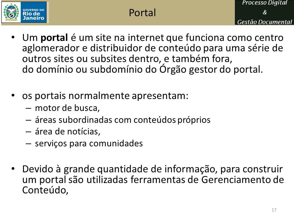 Processo Digital & Gestão Documental Portal Um portal é um site na internet que funciona como centro aglomerador e distribuidor de conteúdo para uma s