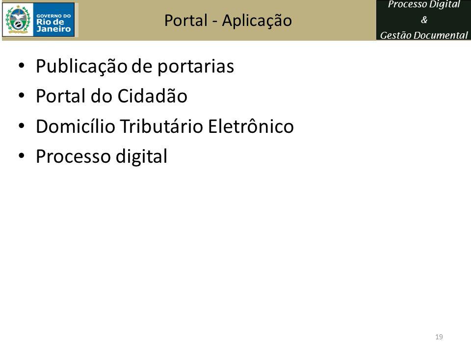 Processo Digital & Gestão Documental Portal - Aplicação Publicação de portarias Portal do Cidadão Domicílio Tributário Eletrônico Processo digital 19