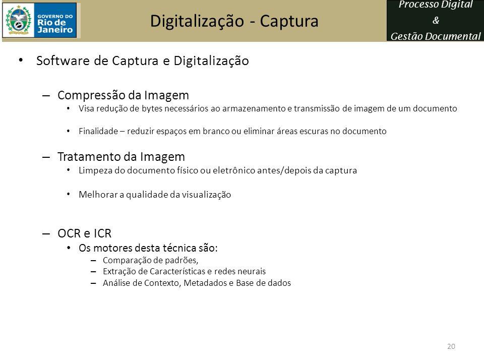 Processo Digital & Gestão Documental Digitalização - Captura Software de Captura e Digitalização – Compressão da Imagem Visa redução de bytes necessár