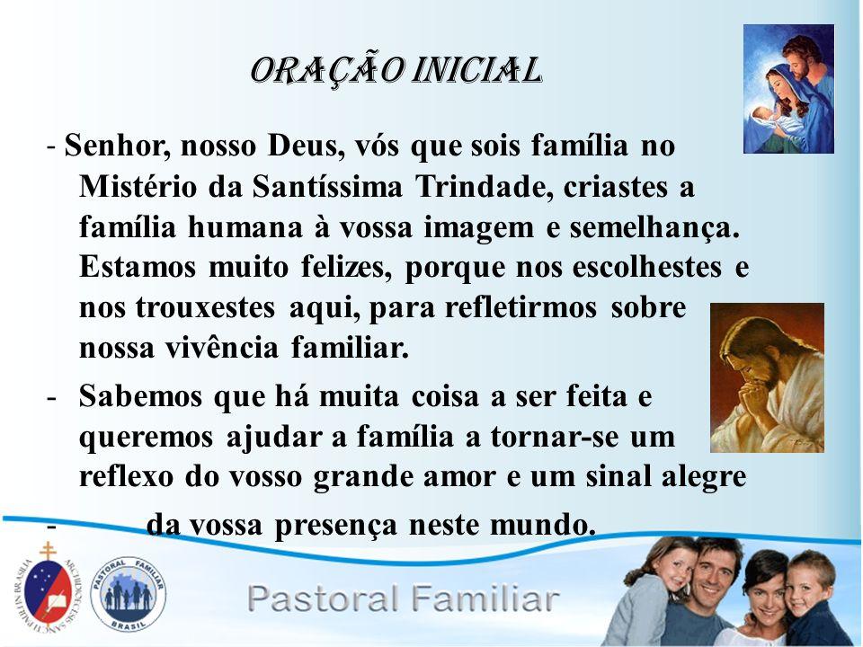 Oração Inicial - Senhor, nosso Deus, vós que sois família no Mistério da Santíssima Trindade, criastes a família humana à vossa imagem e semelhança. E