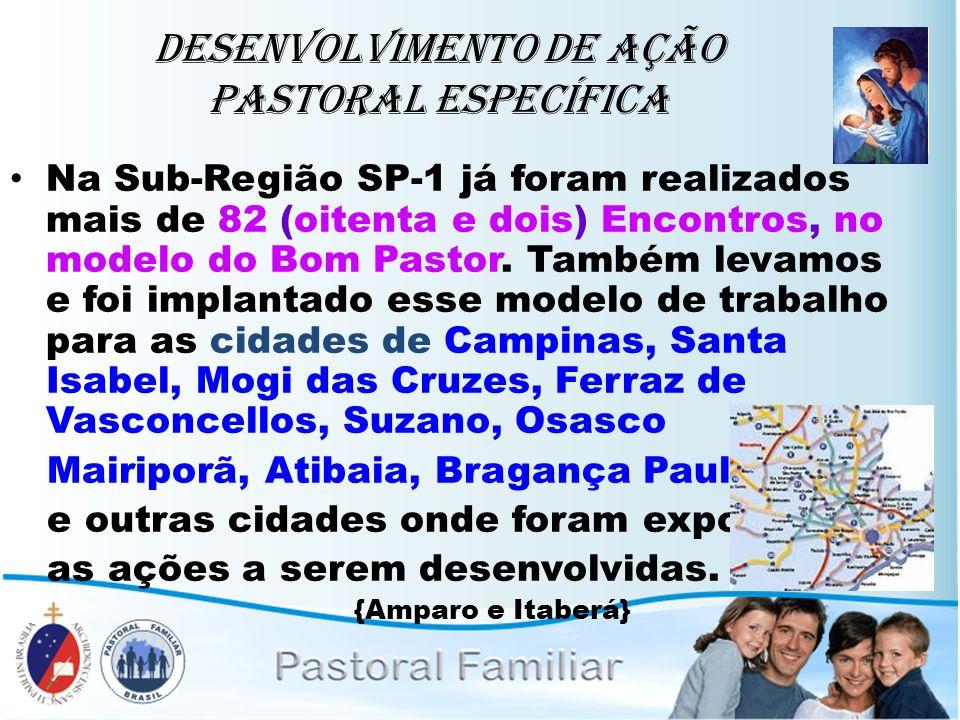 Desenvolvimento de ação Pastoral Específica Na Sub-Região SP-1 já foram realizados mais de 82 (oitenta e dois) Encontros, no modelo do Bom Pastor. Tam
